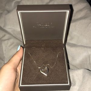 Silver Diamond heart necklace with rose gold